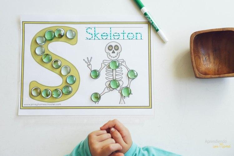 Montessori at home skeleton theme. free letter S printable.