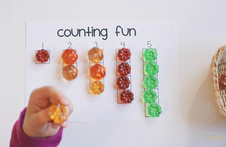 Tarjetas Montessori calabaza preescolar actividades para niinos