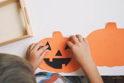 Make a face for the jack-o-lantern pumpkin