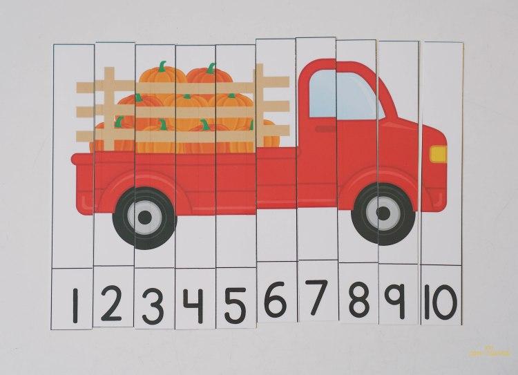 Puzzle de numerous gratis calabazas preescolar Montessori