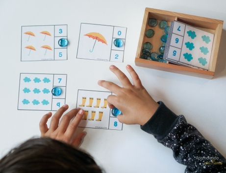Math printables with rainy weather theme. Montessori at home.