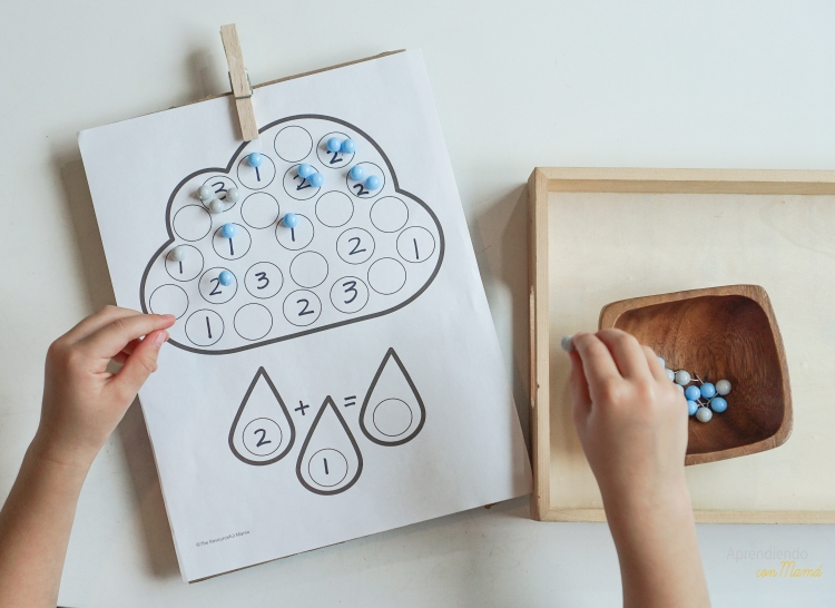 Math cloud with push pins. Montessori at home.