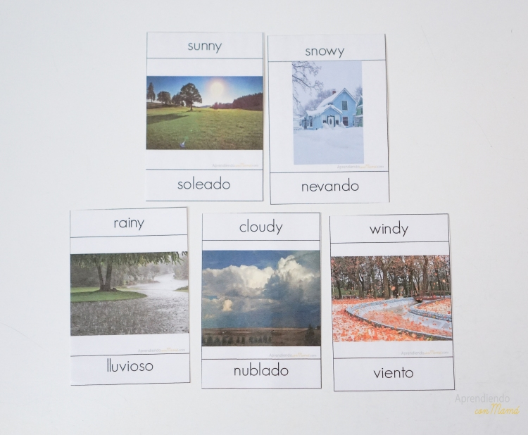 Weather Free bilingual Montessori printables